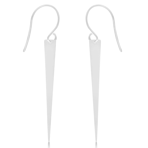 Jagger Fishhook Elongated Triangle Dangling Earrings 14k White Gold