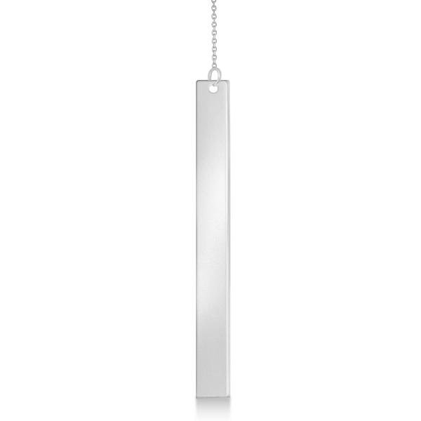 Dangling Y Neck Bar Necklace Pendant 14k White Gold