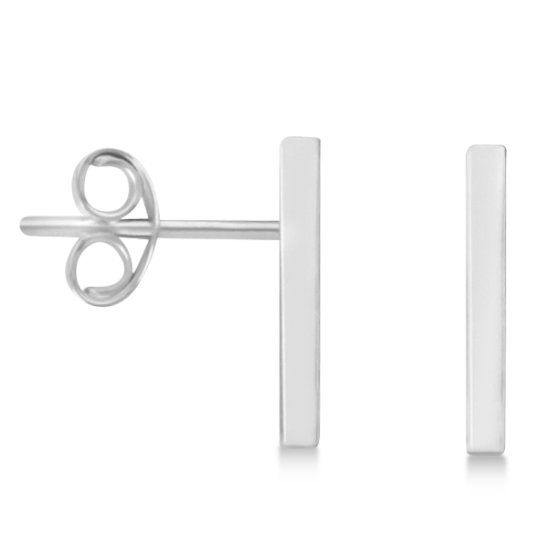 Post-Back Petite Bar Earrings 14k White Gold