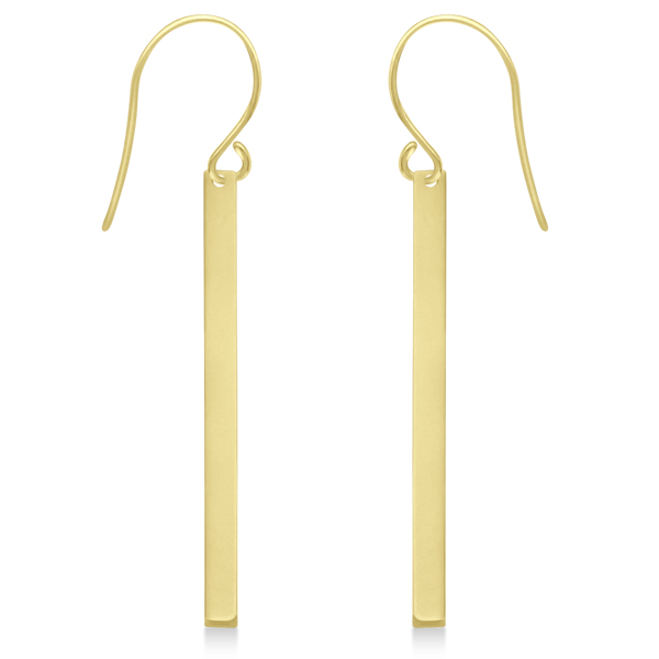 Fishhook Dangling Bar Earrings in 14k Yellow Gold