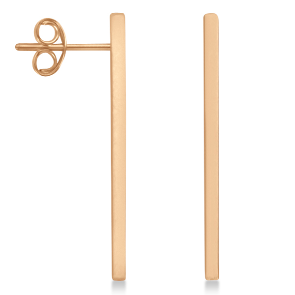 Post-Back Long Bar Drop Earrings 14k Rose Gold