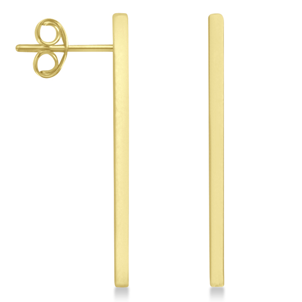 Post-Back Long Bar Drop Earrings 14k Yellow Gold