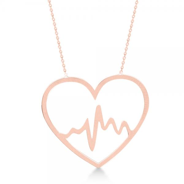 Heartbeat in Heart Pendant Chain Necklace Plain Metal 14k Rose Gold