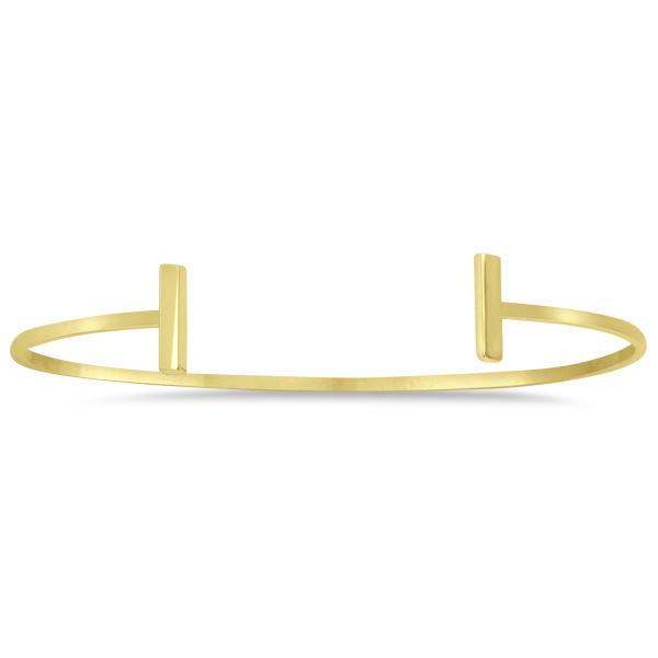 T Shape Cuff Bangle Bracelet 14k Yellow Gold