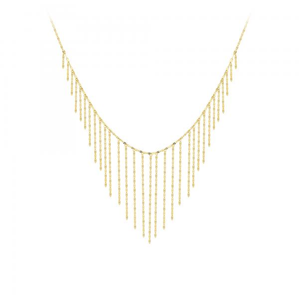 Hammered Forzentina Chain Draped Fringe Bib Necklace 14k Yellow Gold