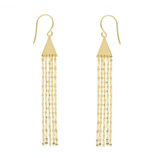 Pyramid Hammered Forzentina Fringe Drop Earrings 14k Yellow Gold