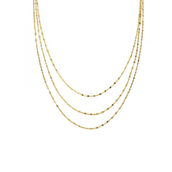 Hammered Forzentina Layered Three-Row Bib Necklace 14k Yellow Gold