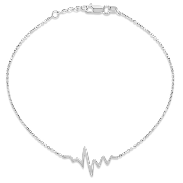 Adjustable Heartbeat Bracelet in 14k White Gold