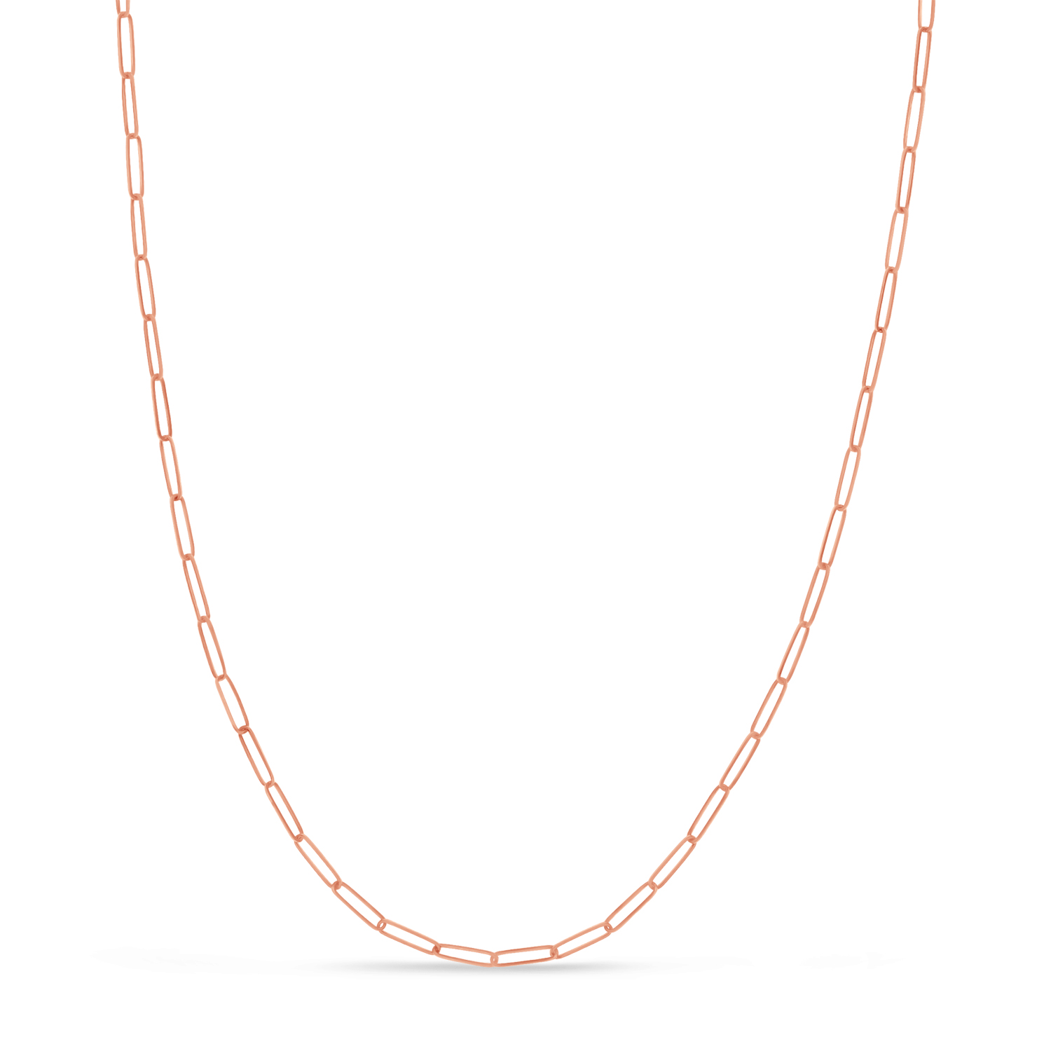 Handmade Elongated Paperclip Link Chain Necklace 14k Rose Gold