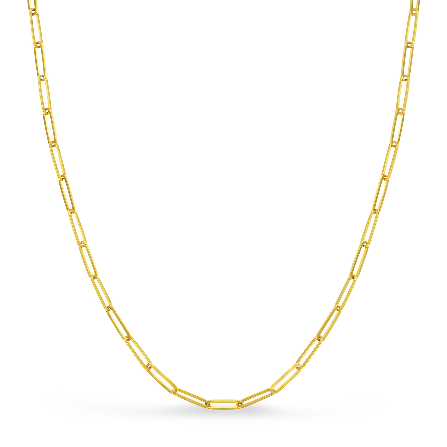 Handmade Elongated Paperclip Link Chain Necklace 14k Yellow Gold