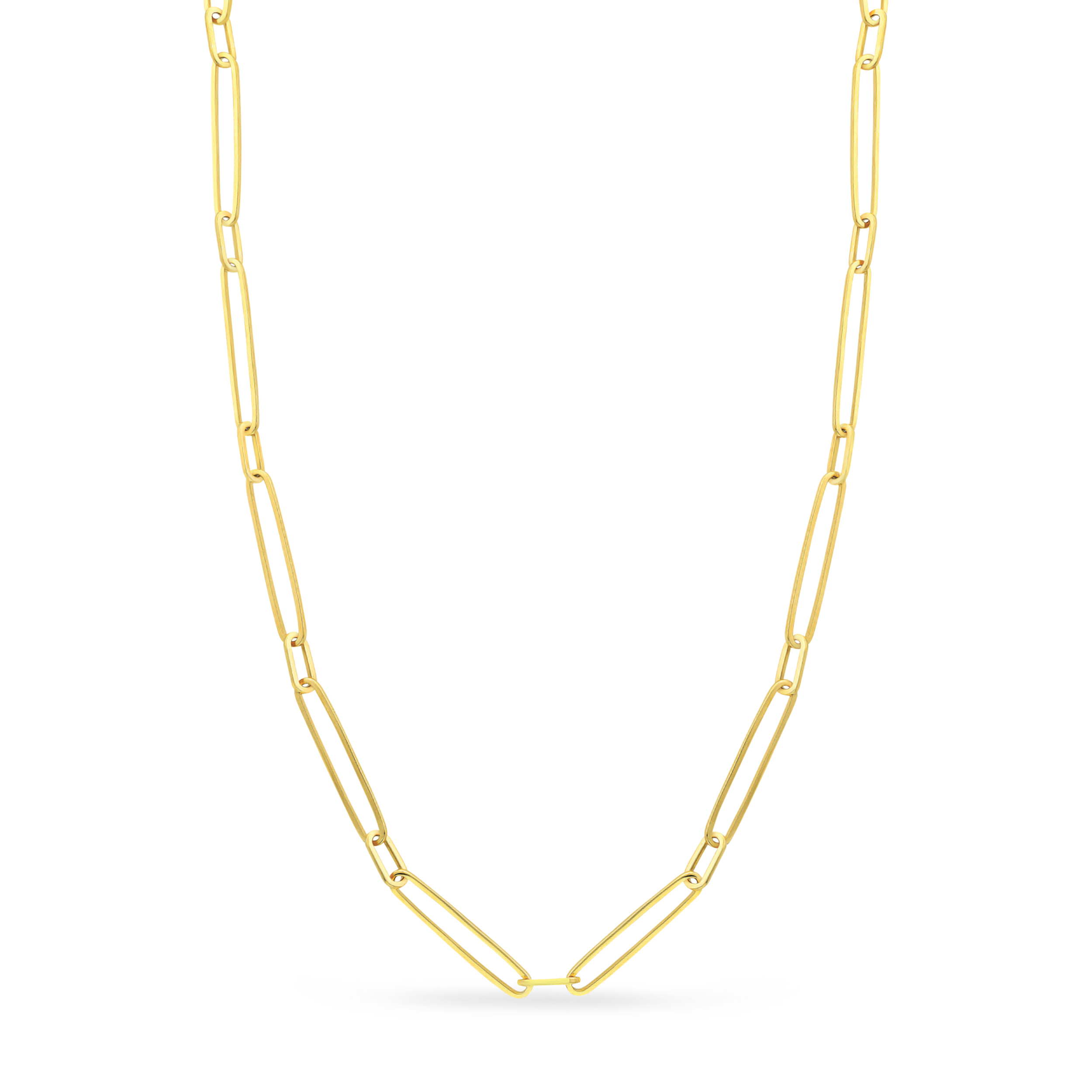 Paperclip Chain Necklace With Lobster Lock 14k Yellow Gold