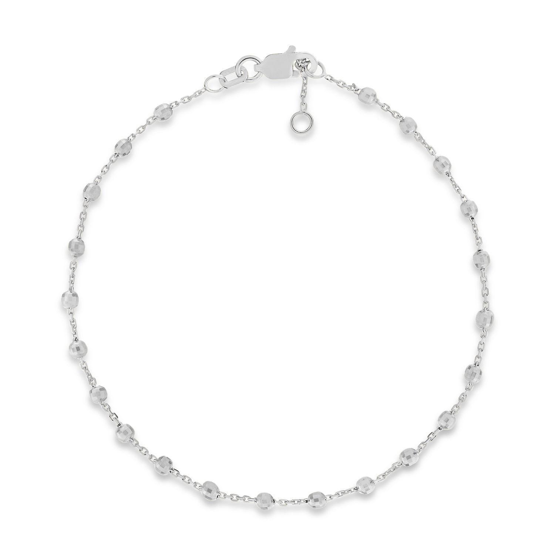 Bead Stationed Bracelet 14k White Gold