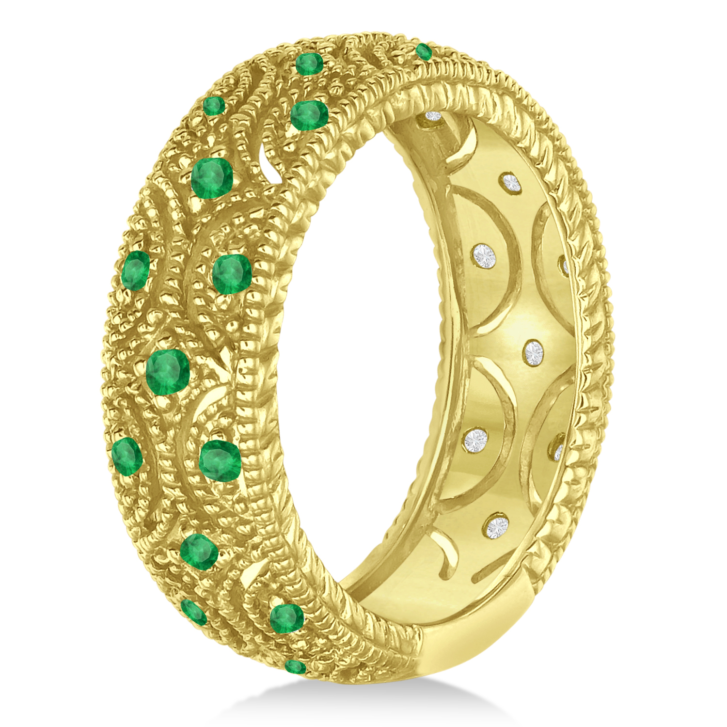 emerald milgrain vintage eternity band 14k yellow gold 0 38ct