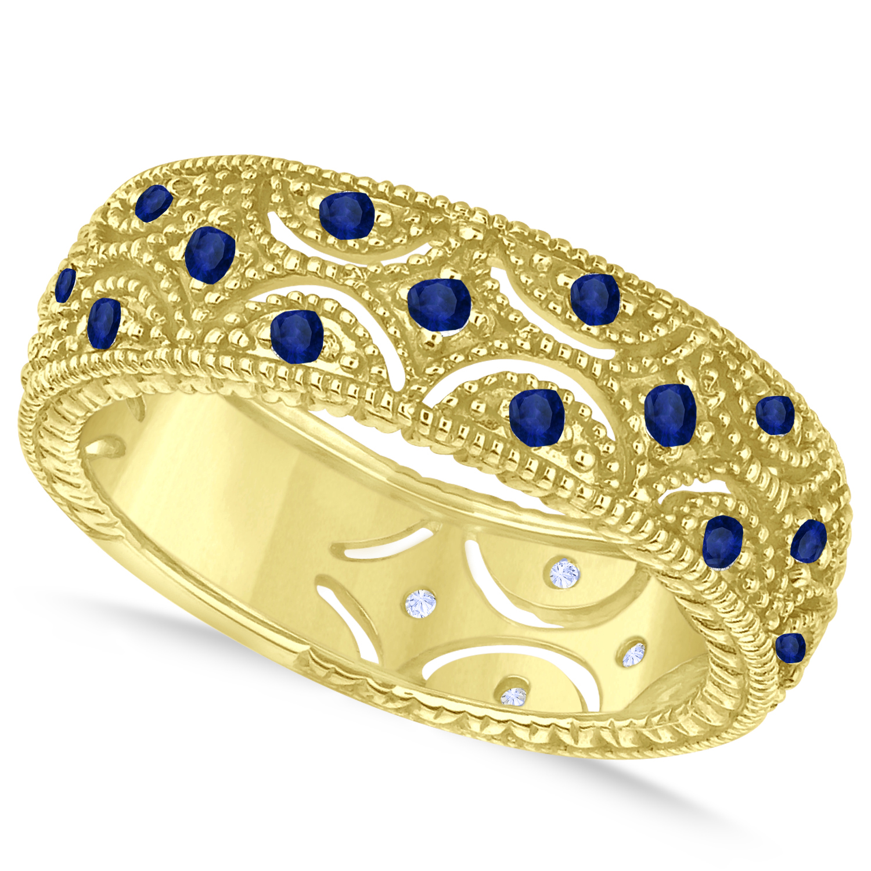 Blue Sapphire Milgrain Vintage Eternity Band 14k Yellow Gold (0.38ct)