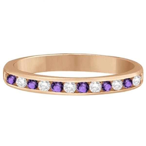 Amethyst & Diamond Semi-Eternity Channel Ring 14k Rose Gold (0.40ct)