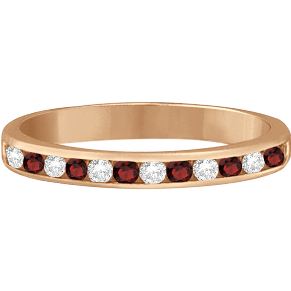 Garnet & Diamond Semi-Eternity Channel Ring 14k Rose Gold (0.40ct)