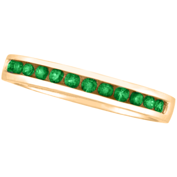 Channel-Set Emerald Band Stackable Ring 14k Rose Gold (0.40ct)