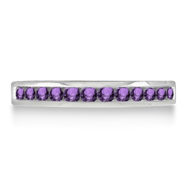 Amethyst Channel-Set Semi-Eternity Ring Band 14k White Gold (0.40ct)