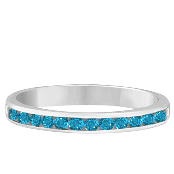 Blue Topaz Channel-Set Semi-Eternity Ring Band 14k White Gold (0.40ct)