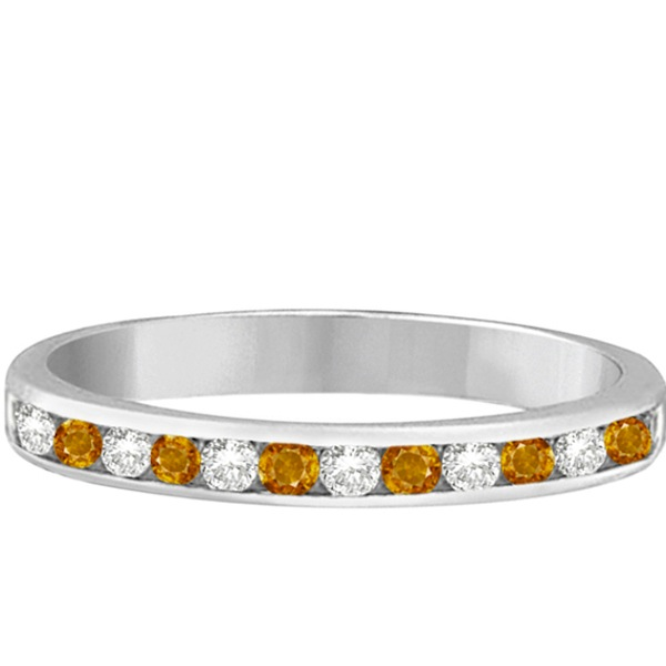 Citrine & Diamond Semi-Eternity Channel Ring 14k White Gold (0.40ct)