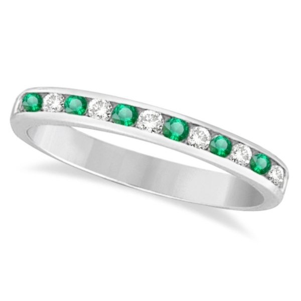 Channel-Set Emerald & Diamond Ring Band 14k White Gold (0.40ctw)