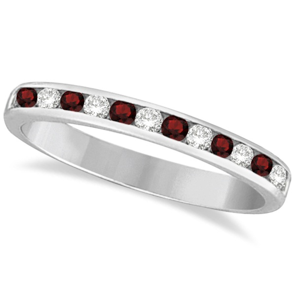 Garnet & Diamond Semi-Eternity Channel Ring 14k White Gold (0.40ct)