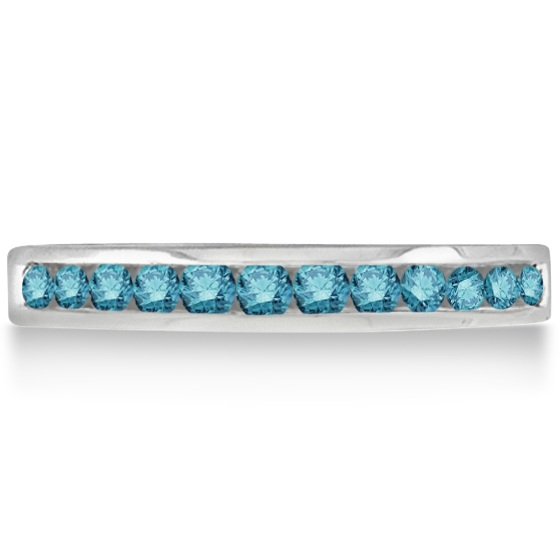 Channel-Set Fancy Blue Diamond Ring Band 14k White Gold (0.33ct)