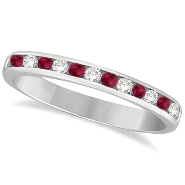 Ruby & Diamond Semi-Eternity Channel Ring 14k White Gold (0.40ct)