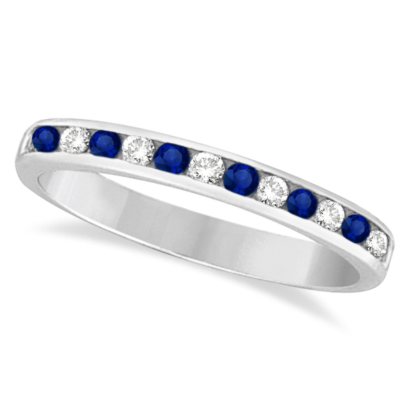 Channel-Set Blue Sapphire & Diamond Ring 14k White Gold (0.40ct)
