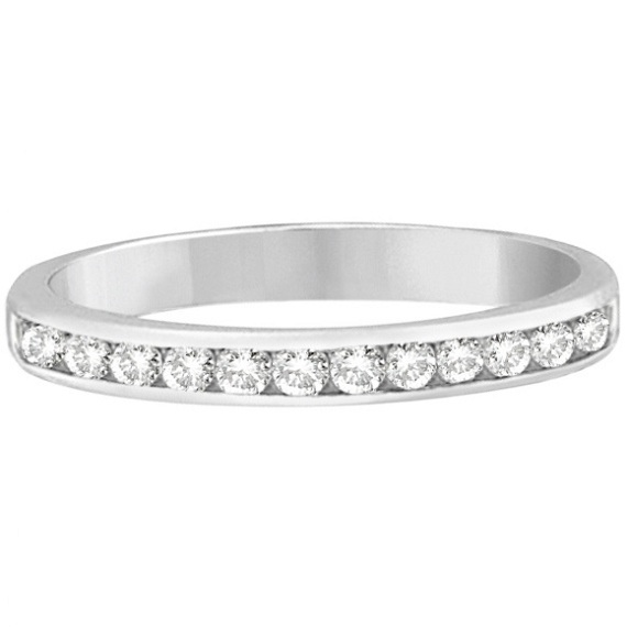 Channel-Set Diamond Ring Band in 14k White Gold (0.33 ctw)