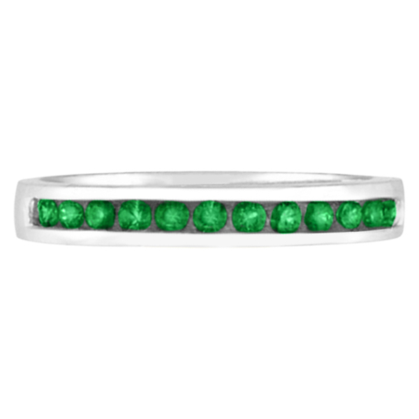 Channel-Set Emerald Band Stackable Ring 14k White Gold (0.40ct)