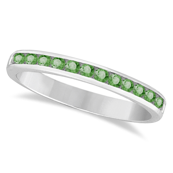Channel-Set Green Amethyst Stackable Ring in 14k White Gold (0.40ct)