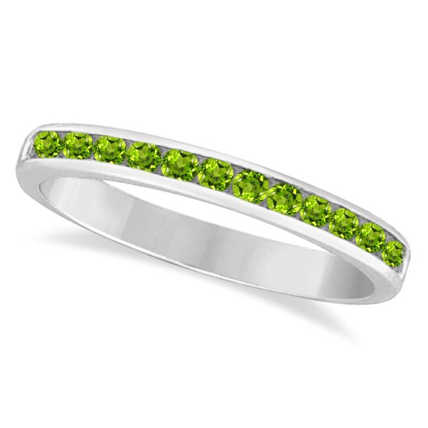 Peridot Channel-Set Semi-Eternity Ring Band 14k White Gold (0.40ct)