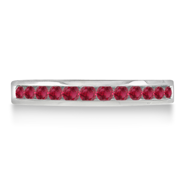 Ruby Channel-Set Semi-Eternity Ring Band 14k White Gold (0.40ct)
