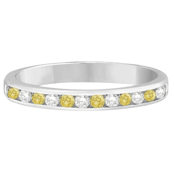 Channel-Set Yellow Canary & White Diamond Ring 14k White Gold (0.33ct)