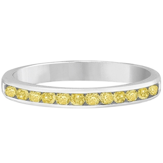 Channel-Set Yellow Canary Diamond Ring Band 14k White Gold (0.33ct)