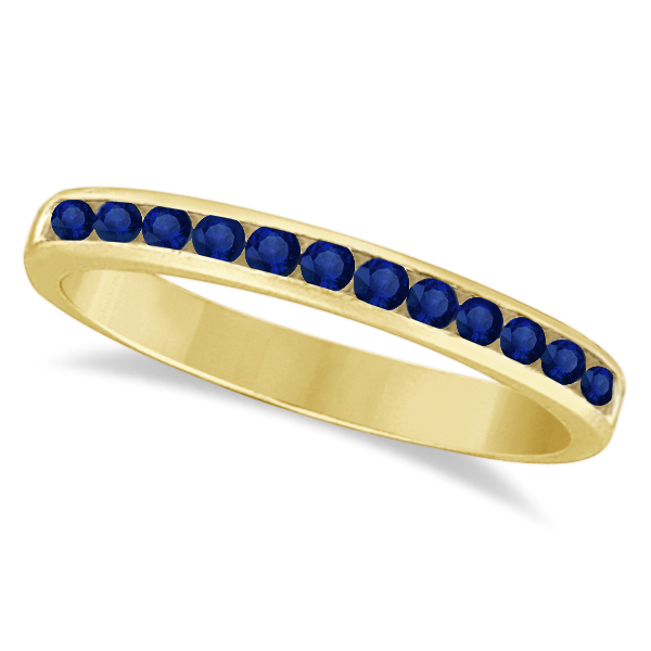 Channel-Set Blue Sapphire Stackable Ring in 14k Yellow Gold (0.40ct)