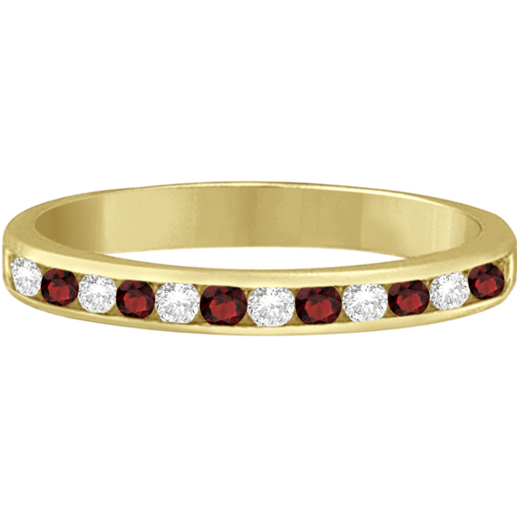 Garnet & Diamond Semi-Eternity Channel Ring 14k Yellow Gold (0.40ct)