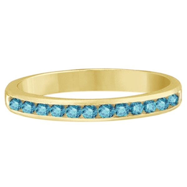 Channel-Set Fancy Blue Diamond Ring Band 14k Yellow Gold (0.33ct)