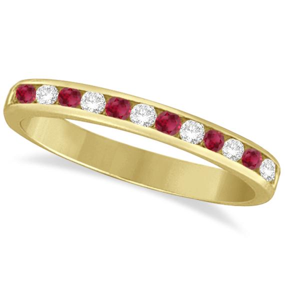Ruby & Diamond Semi-Eternity Channel Ring 14k Yellow Gold (0.40ct)