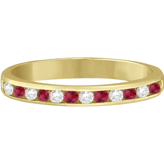 Ruby & Diamond Semi-Eternity Channel Ring 14k Yellow Gold (0.40ct)