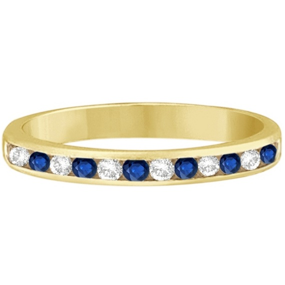 Channel-Set Blue Sapphire & Diamond Ring 14k Yellow Gold (0.40ct)
