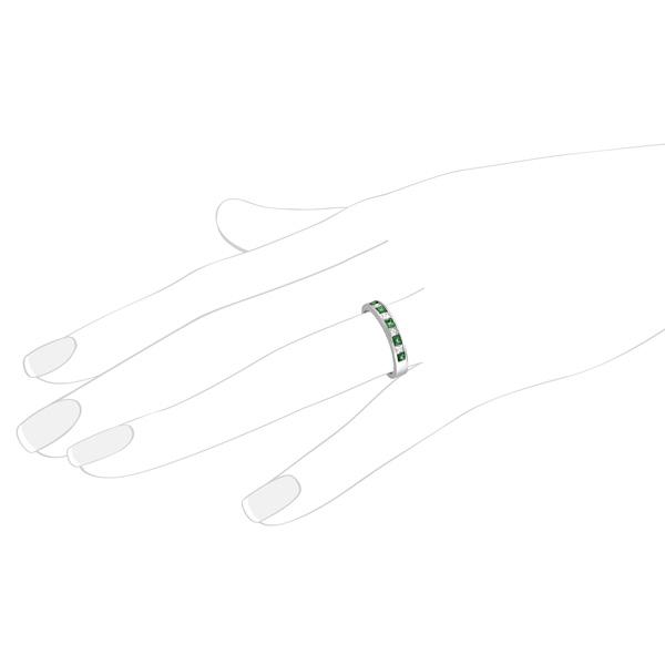 Princess-Cut Diamond & Emerald Ring Band in Palladium (0.73ct)