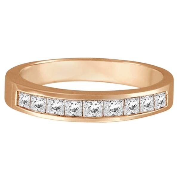 Princess-Cut Channel-Set Diamond Ring Band 14k Rose Gold (1/2ct)