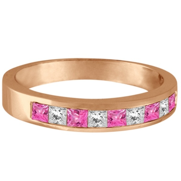 Princess Channel-Set Diamond & Pink Sapphire Ring Band 14k Rose Gold