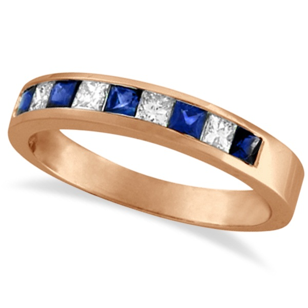 Princess-Cut Channel-Set Diamond & Sapphire Ring Band 14k Rose Gold