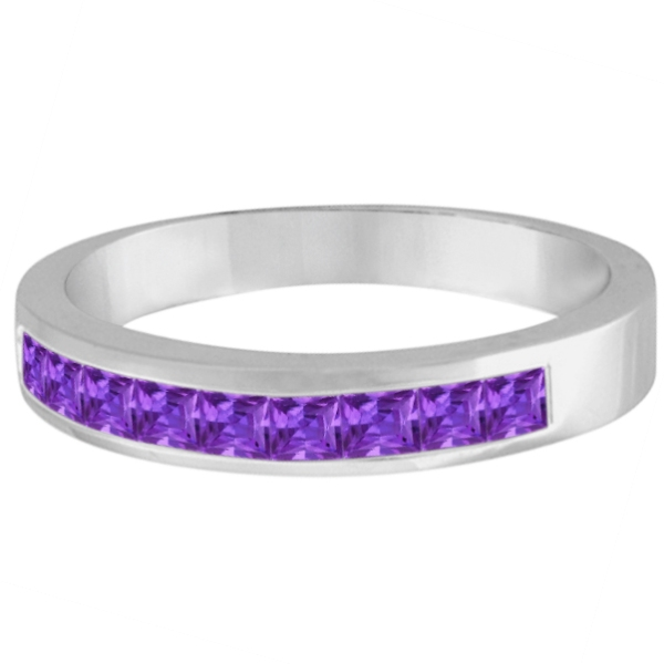 Princess-Cut Channel-Set Stackable Amethyst Ring 14k White Gold 1.00ct