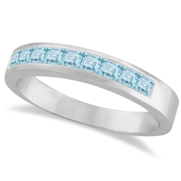 princess cut channel set aquamarine gemstone ring 14k