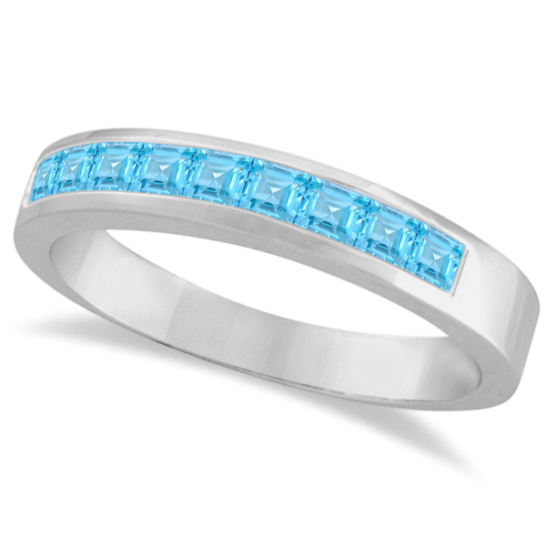 Princess-Cut Channel-Set Blue Topaz Gemstone Ring 14k White Gold 1.00ct
