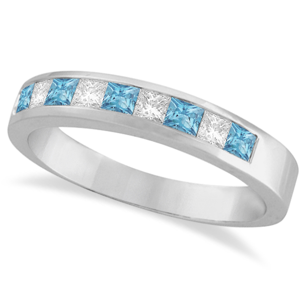 Princess Channel-Set Diamond & Aquamarine Ring Band 14K White Gold